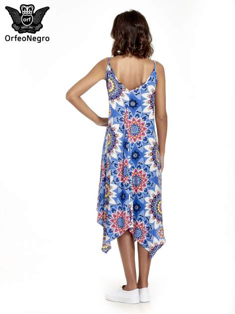Niebieska letnia sukienka w kwiaty                                  zdj.                                  4