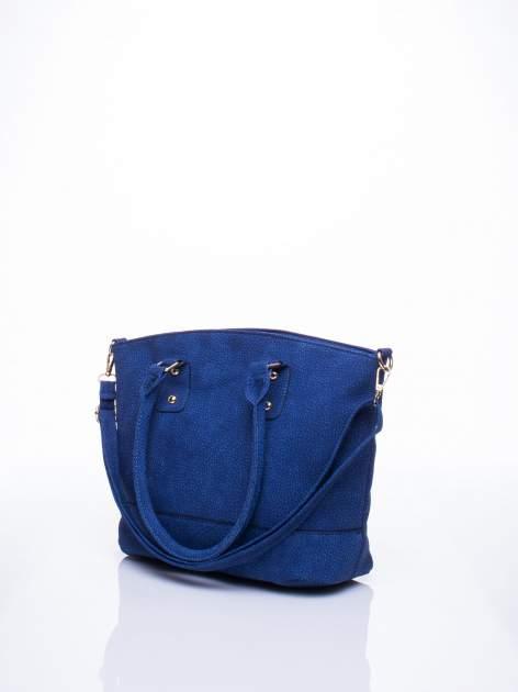 Niebieska miejska torba z czarną lamówką                                  zdj.                                  3
