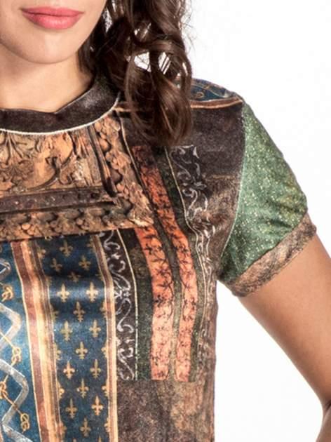 Niebieska mini sukienka w patchworkowy wzór                                  zdj.                                  4