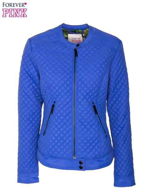 Niebieska pikowana kurtka motocyklowa