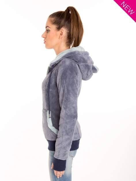 Niebieska polarowa bluza miś z kapturem z uszkami                                  zdj.                                  2