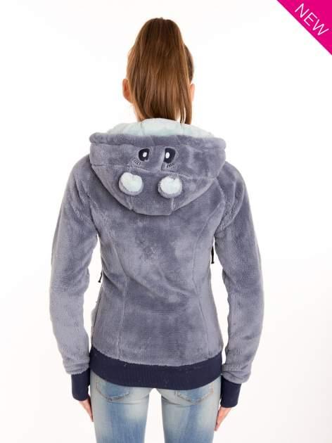 Niebieska polarowa bluza miś z kapturem z uszkami                                  zdj.                                  3