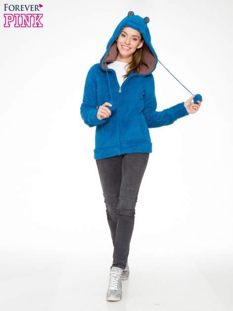 Niebieska polarowa bluza miś z kapturem z uszkami i pomponami                                  zdj.                                  5