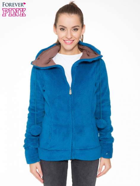 Niebieska polarowa bluza miś z kapturem z uszkami i pomponami