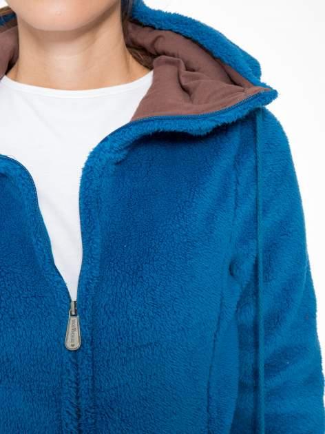 Niebieska polarowa bluza miś z kapturem z uszkami i pomponami                                  zdj.                                  7