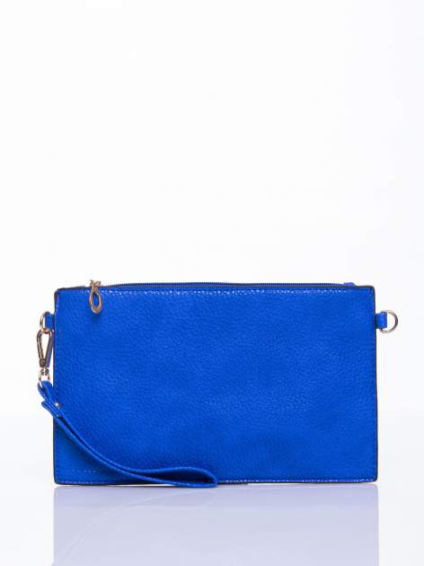 Niebieska prosta przewieszana torebka z uchwytem                                  zdj.                                  2