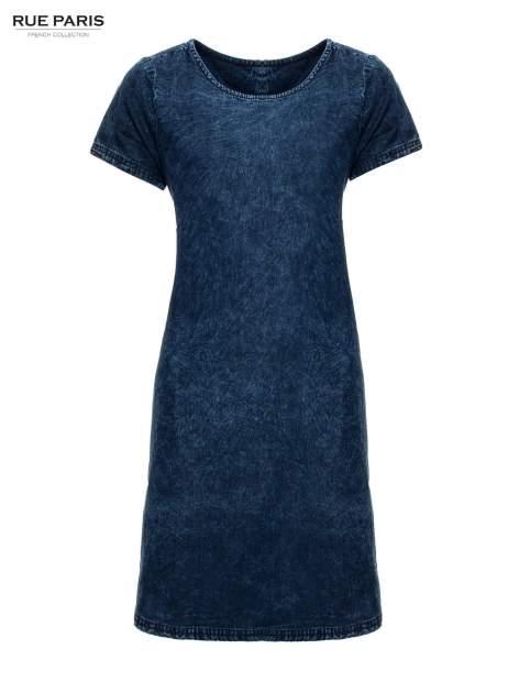 Niebieska prosta sukienka jeansowa z efektem marmurkowym                                  zdj.                                  2