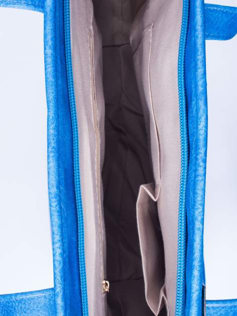 Niebieska prosta torba shopper bag ze złotymi okuciami                                  zdj.                                  4