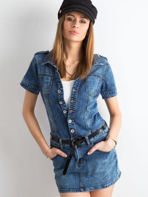 Niebieska rozpinana sukienka jeansowa                              zdj.                              1