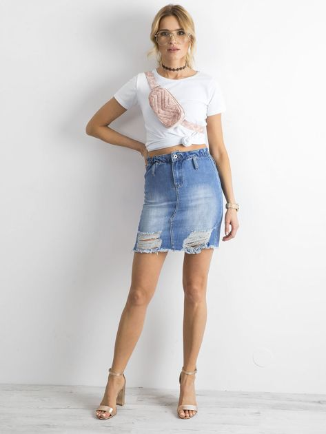 Niebieska spódnica jeansowa z przetarciami                              zdj.                              4