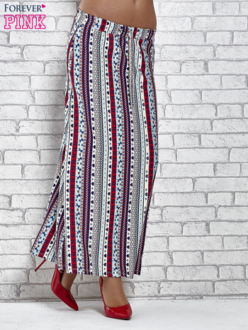 Niebieska spódnica maxi w azteckie wzory                                  zdj.                                  1