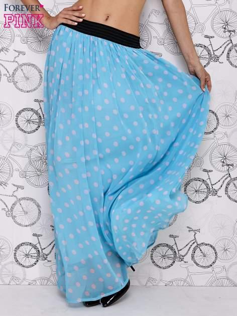 Niebieska spódnica maxi w szare grochy                                  zdj.                                  2
