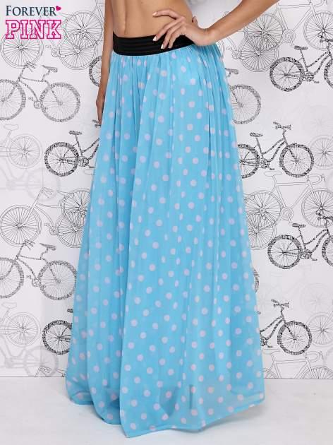 Niebieska spódnica maxi w szare grochy                                  zdj.                                  3