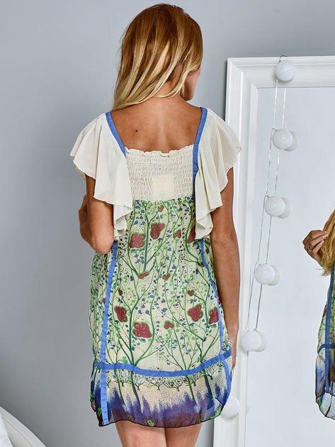 Niebieska sukienka letnia mgiełka w kwiaty                                  zdj.                                  5