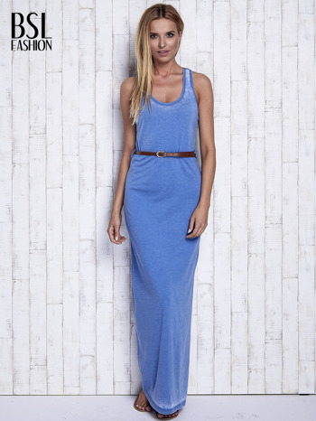 Niebieska sukienka maxi acid wash                                  zdj.                                  2
