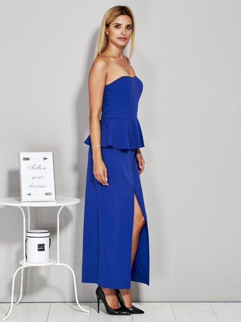 Niebieska sukienka wieczorowa z baskinką                              zdj.                              5