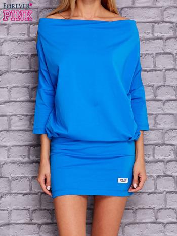 Niebieska sukienka z luźnym kołnierzem                                  zdj.                                  1