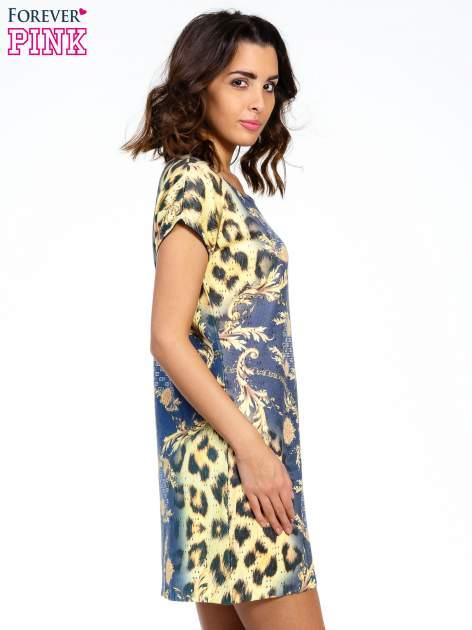 Niebieska sukienka z panterkowym nadrukiem                                  zdj.                                  3