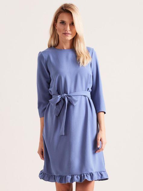 Niebieska sukienka z wiązaniem i falbanami                              zdj.                              1