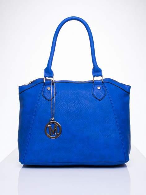 Niebieska torba miejska ze złotą zaiweszką                                  zdj.                                  1