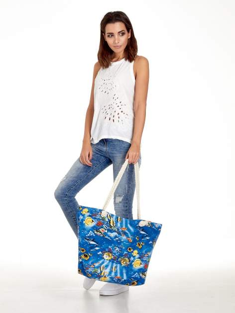 Niebieska torba plażowa z nadrukiem rafy koralowej                                  zdj.                                  10