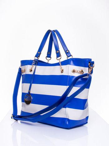 Niebieska torba shopper bag w pasy efekt saffiano                                  zdj.                                  2