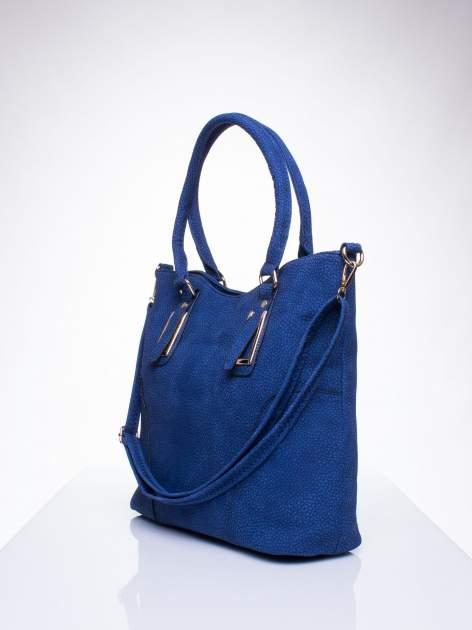 Niebieska torba shopper bag ze złotymi okuciami przy rączkach                                  zdj.                                  2