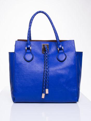 Niebieska torba z ozdobnymi skórzanymi troczkami                                  zdj.                                  1