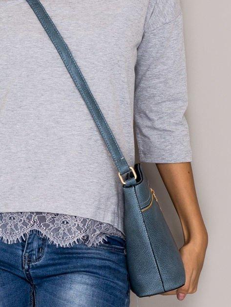 Niebieska torebka ze złotymi suwakami                                  zdj.                                  2