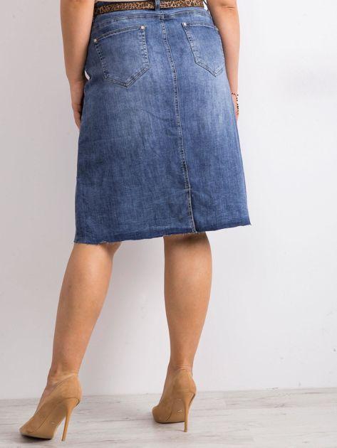 Niebieska trapezowa jeansowa spódnica PLUS SIZE                              zdj.                              2
