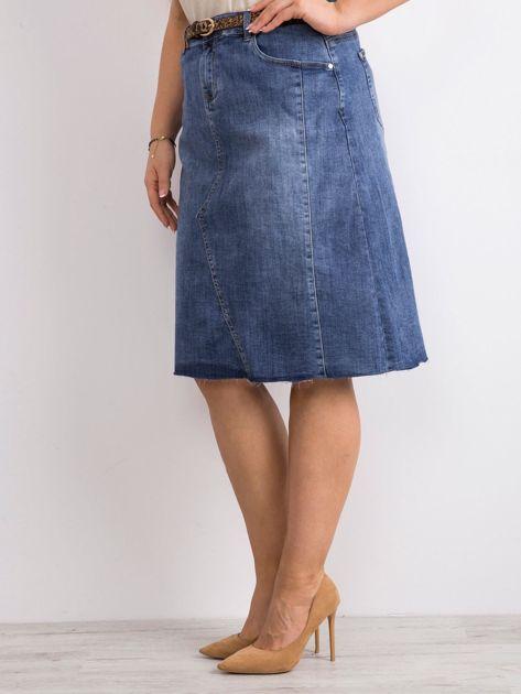 Niebieska trapezowa jeansowa spódnica PLUS SIZE                              zdj.                              3