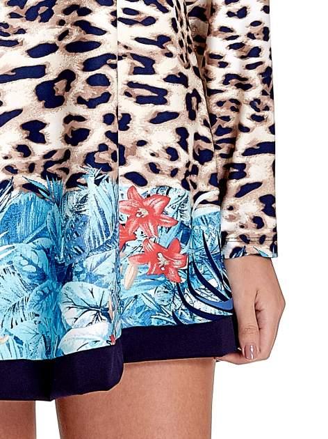 Niebieska tunika z motywem animal print                                  zdj.                                  6