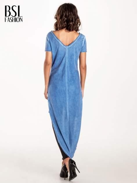 Niebieska tunika z wiązaniem z tyłu                              zdj.                              3