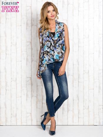 Niebieska warstwowa bluzka koszulowa w kwiaty                                  zdj.                                  2
