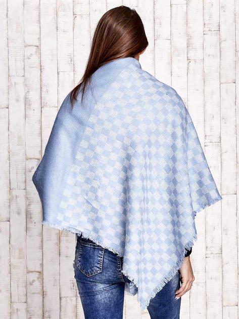 Niebieska wełniana chusta w kwadraty                                  zdj.                                  2