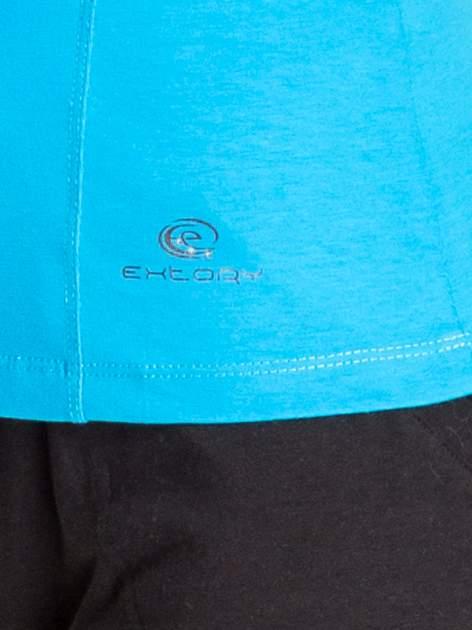 Niebieski damski t-shirt sportowy z dekoltem U                                  zdj.                                  5