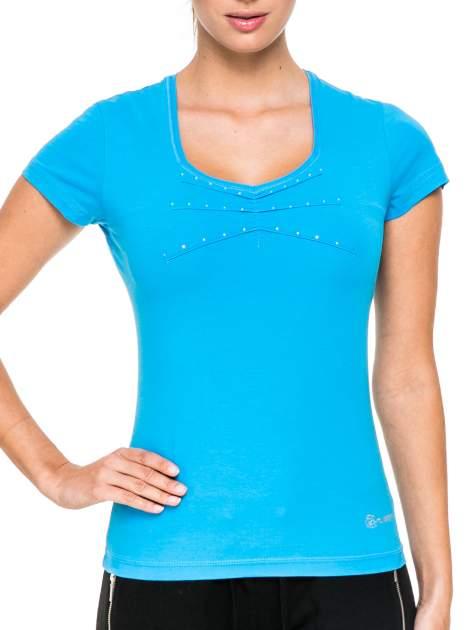 Niebieski damski t-shirt sportowy z dżetami                                  zdj.                                  5