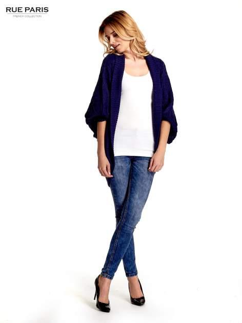 Niebieski dziergany sweter typu otwarty kardigan                                  zdj.                                  2