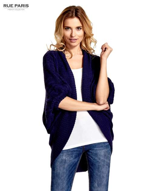 Niebieski dziergany sweter typu otwarty kardigan                                  zdj.                                  1