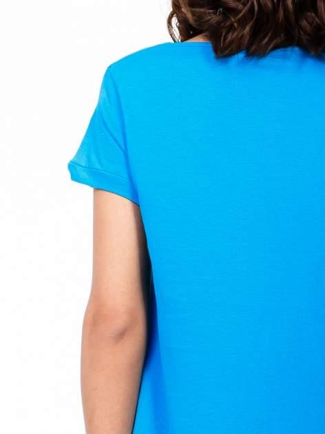 Niebieski luźny t-shirt                                   zdj.                                  6