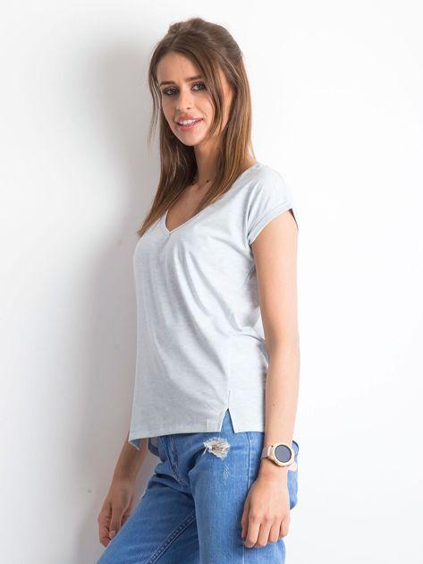 Niebieski melażowy t-shirt Vibes                              zdj.                              3