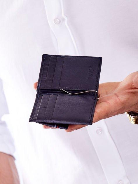 Niebieski męski portfel skórzany z zewnętrzną kieszenią                              zdj.                              3