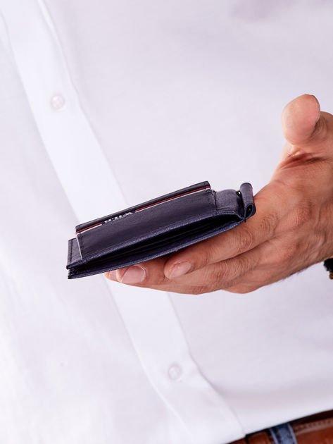 Niebieski męski portfel skórzany z zewnętrzną kieszenią                              zdj.                              6