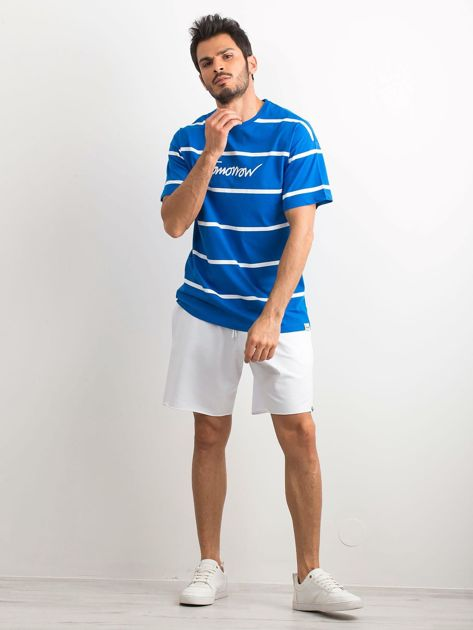 Niebieski męski t-shirt w paski                              zdj.                              4