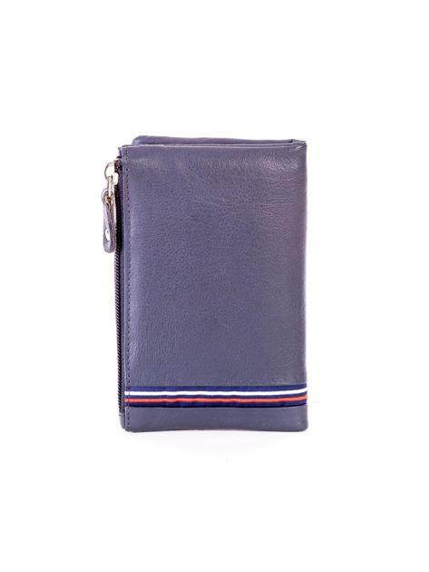 Niebieski miękki portfel ze skóry naturalnej z kieszenią na suwak                              zdj.                              2