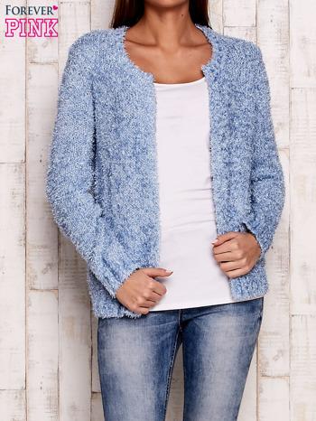 Niebieski otwarty włochaty sweter                                   zdj.                                  1