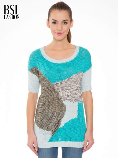 Niebieski patchworkowy sweter z krótkim rękawem                                  zdj.                                  1