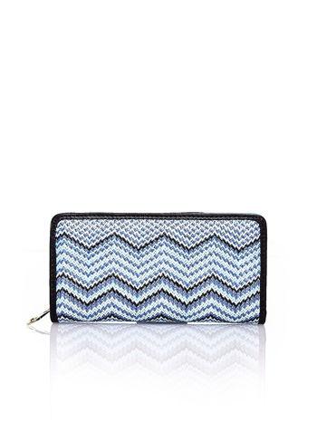 Niebieski pleciony portfel w geometryczne wzory                                  zdj.                                  1