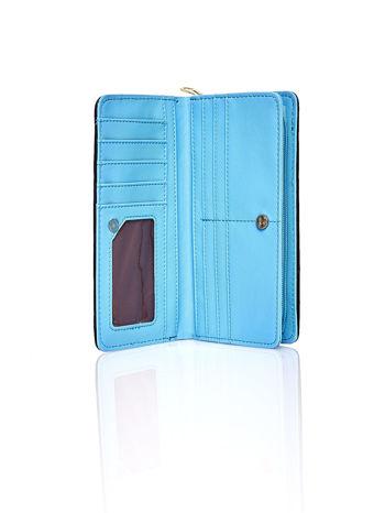 Niebieski pleciony portfel w geometryczne wzory                                  zdj.                                  3