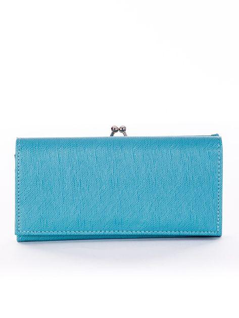 Niebieski portfel damski z zapięciem na zatrzask